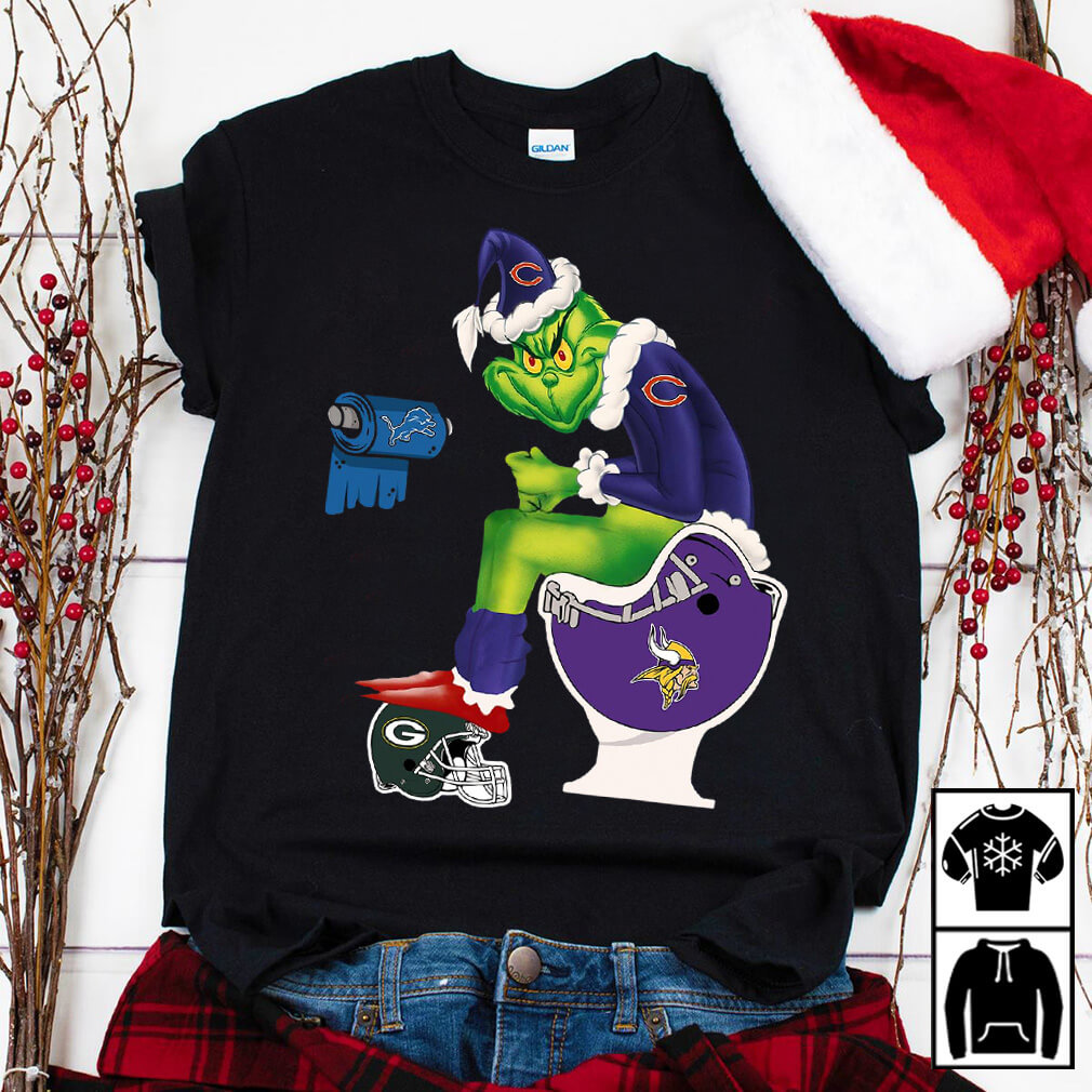 Santa Grinch Chicago Cubs toilet shirt