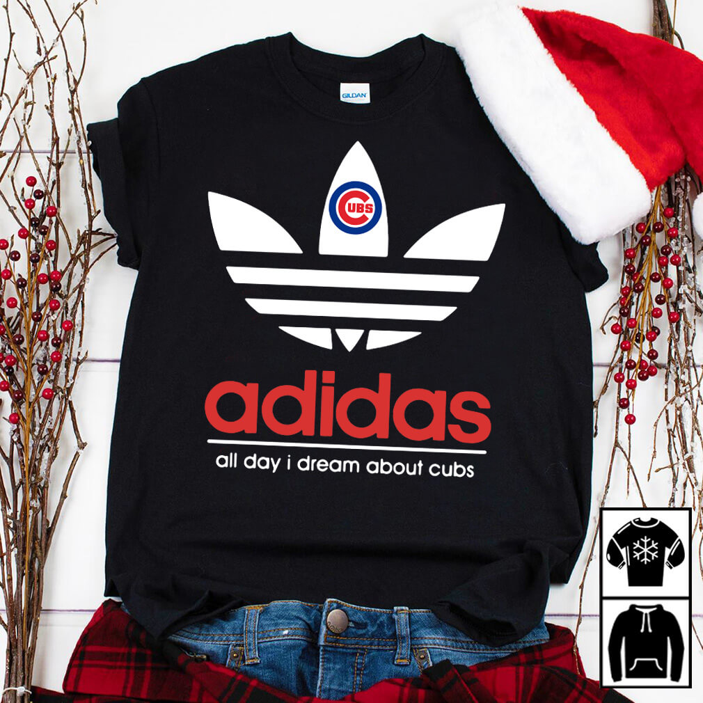 Adidas Chicago Cubs all day I dream about cubs black shirt