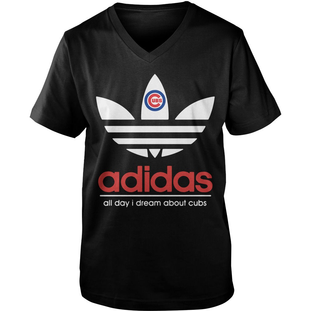 Adidas Chicago Cubs all day I dream about cubs black Guy V-Neck