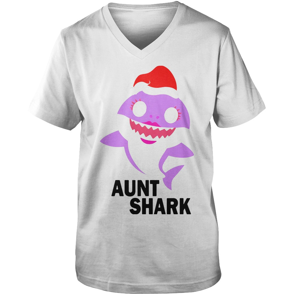 Aunt shark Christmas Guy V-Neck