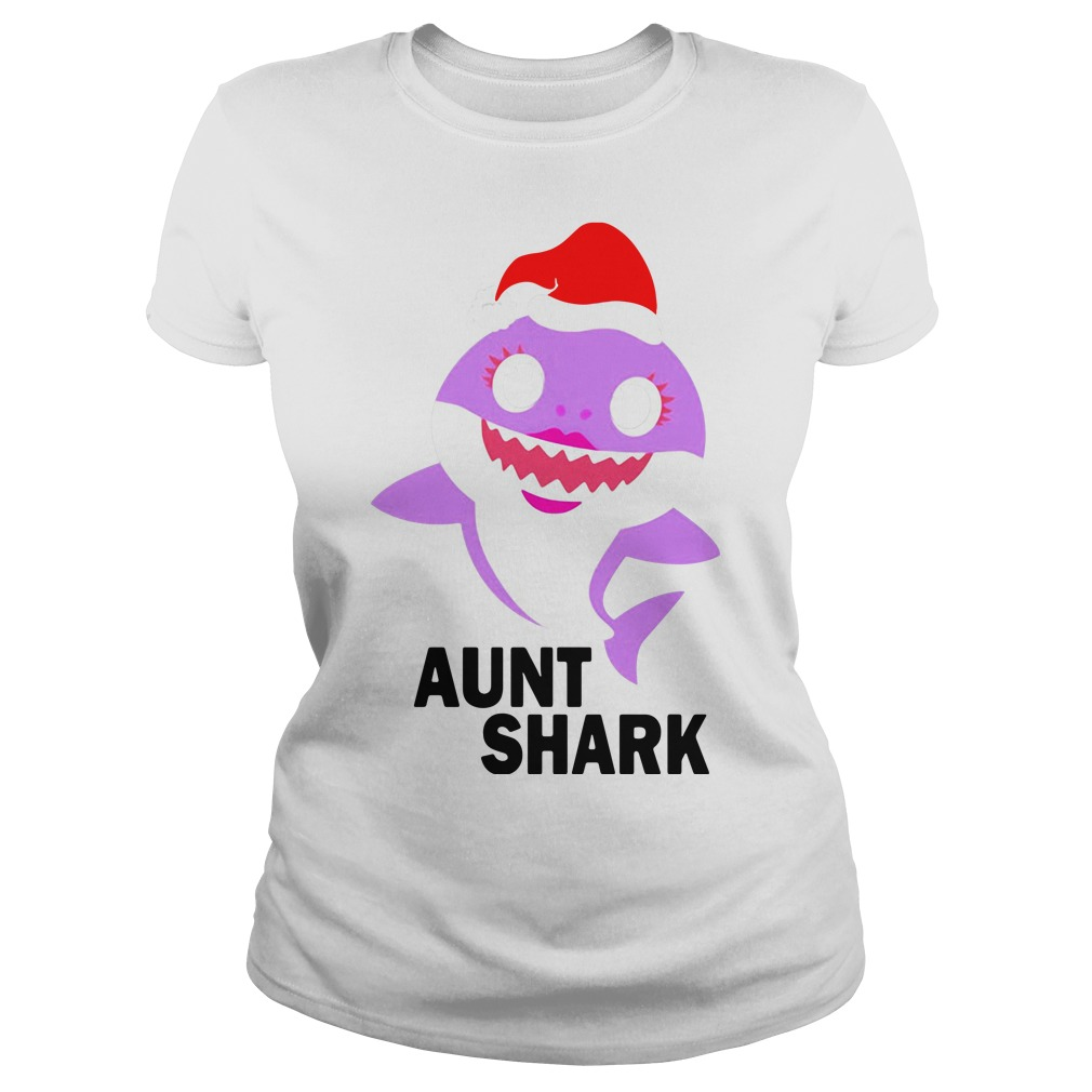 Aunt shark Christmas Ladies Tee