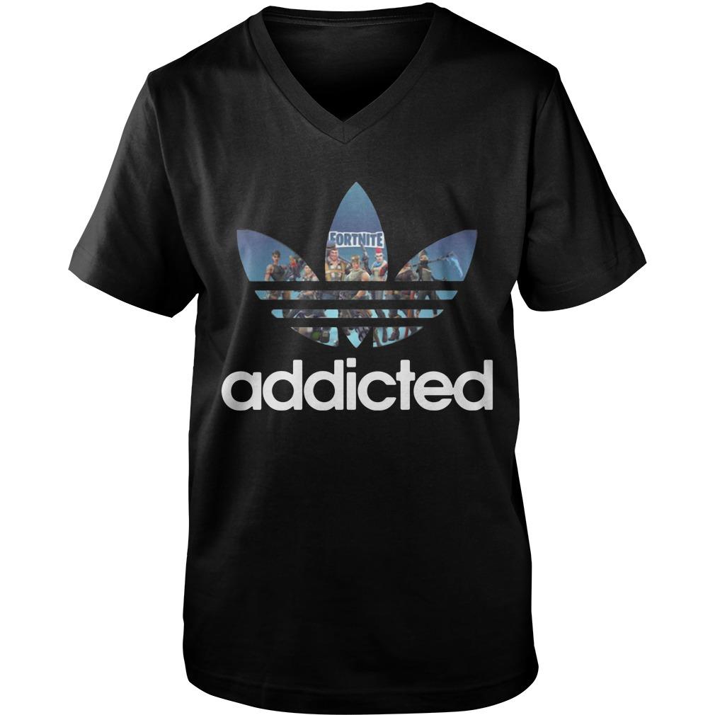 Fortnite Addicted Game Adidas Guy V-Neck