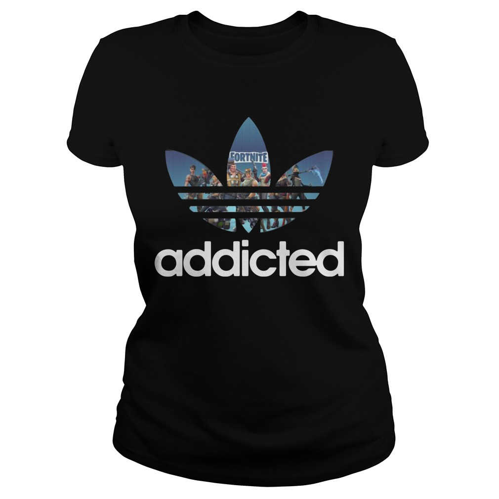 Fortnite Addicted Game Adidas Ladies Tee
