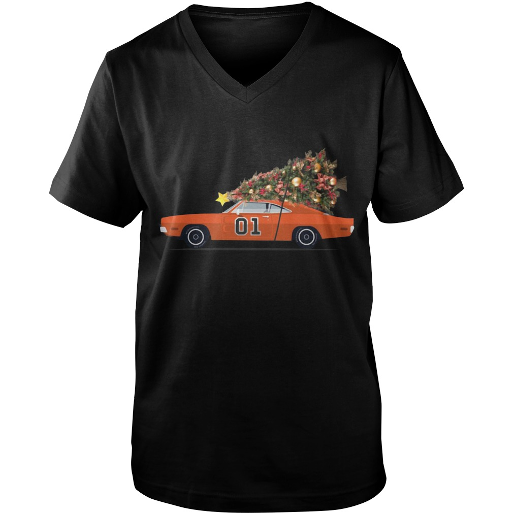 The General Lee car Christmas tree Guy V-Neck