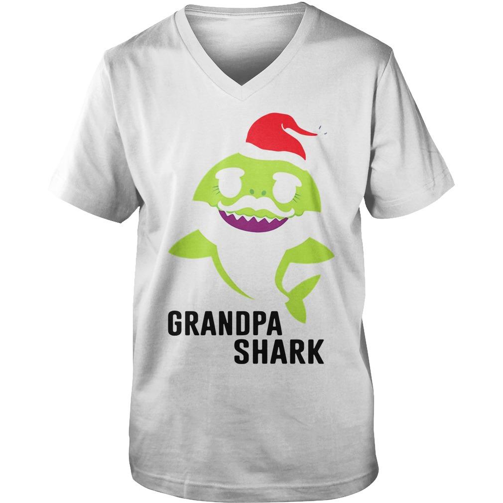 Grandpa shark Christmas Guy V-Neck