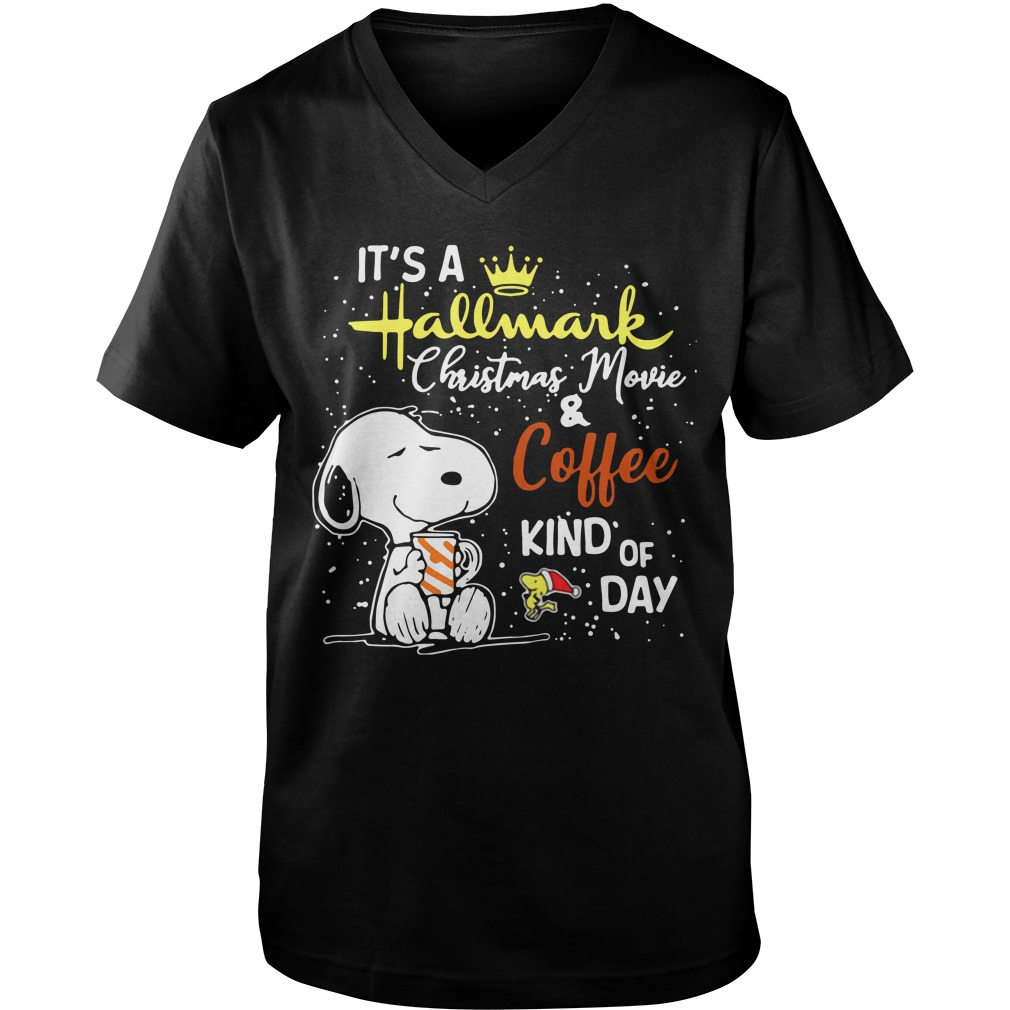 Snoopy and Woodstock It's a Hallmark Christmas movie and coffee kind of day Guy V-Neck