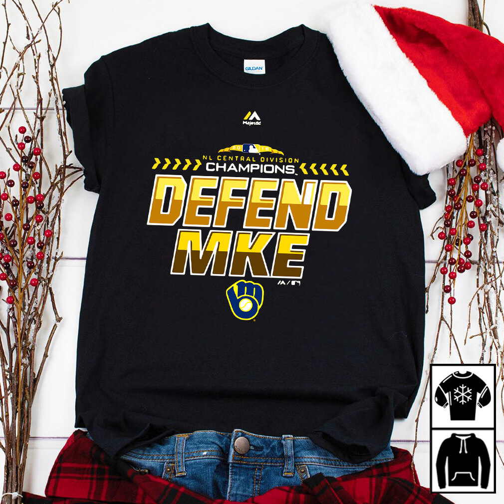 Majestic Milwaukee Brewers Navy 2018 NL central division champions locker room defend shirt