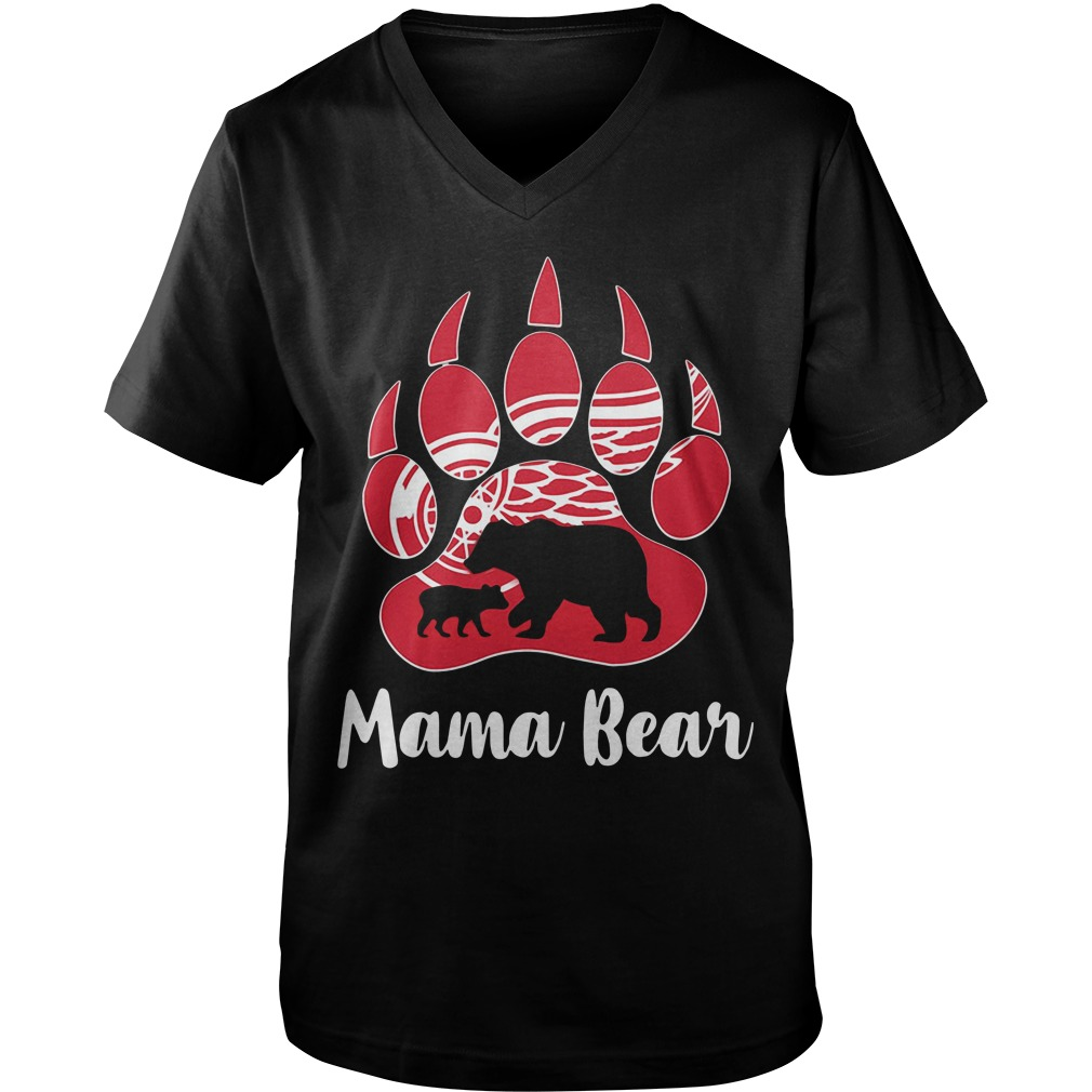 Detroit red wings Mama Bear Paw Guy V-Neck