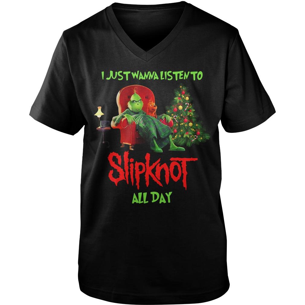 Grinch I just wanna listen to Slipknot all day Christmas Guy V-Neck