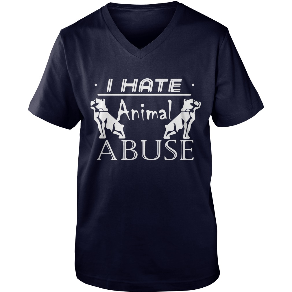 I hate animal abuse Guy V-Neck