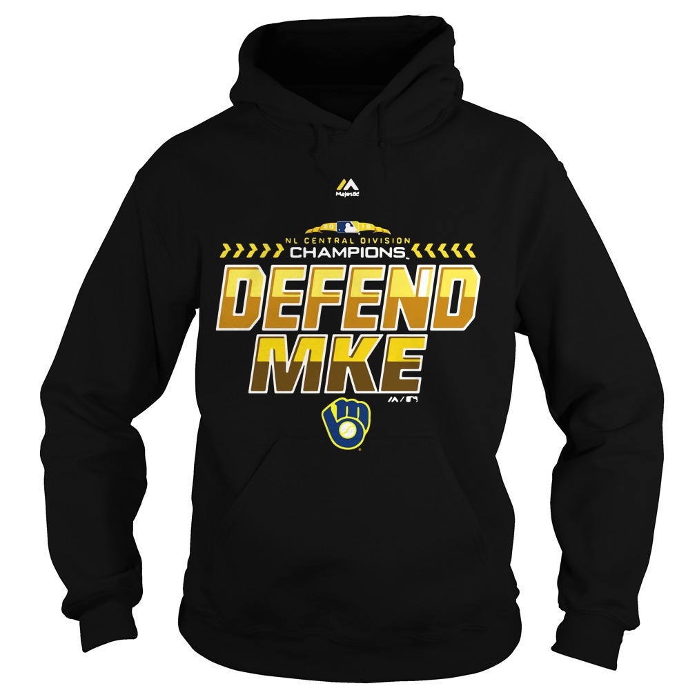 4d3ff8a3 Majestic Milwaukee Brewers Navy 2018 NL central division champions locker  room defend Hoodie