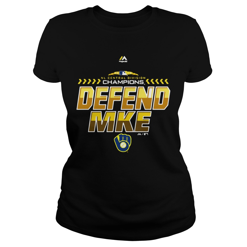 Majestic Milwaukee Brewers Navy 2018 NL central division champions locker room defend Ladies Tee
