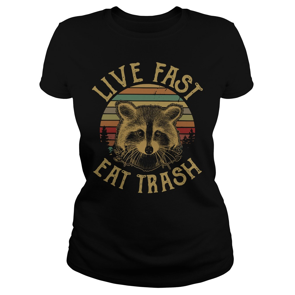 Raccoon Sunset Camping Live fast eat trash Ladies Tee