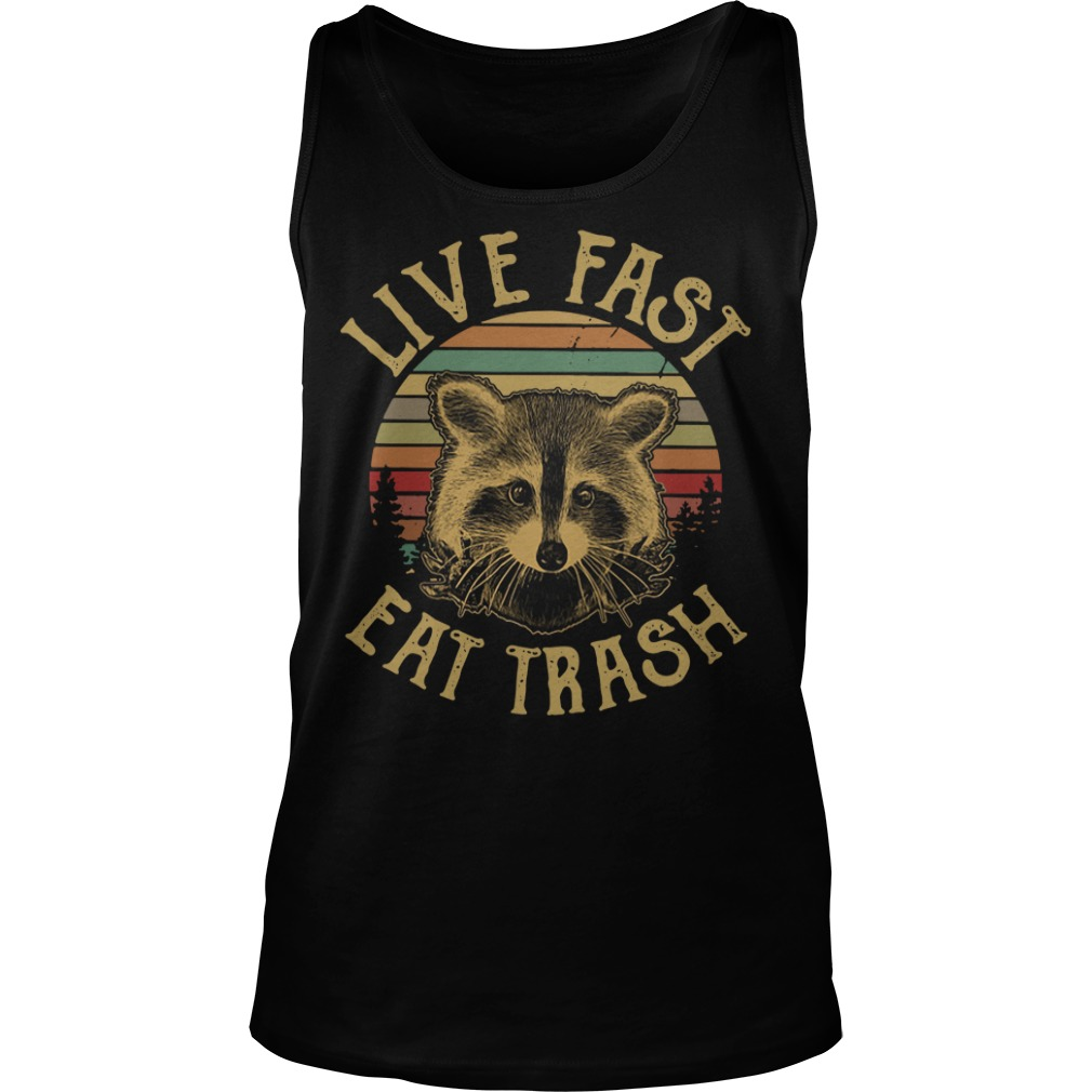 Raccoon Sunset Camping Live fast eat trash Tank Top