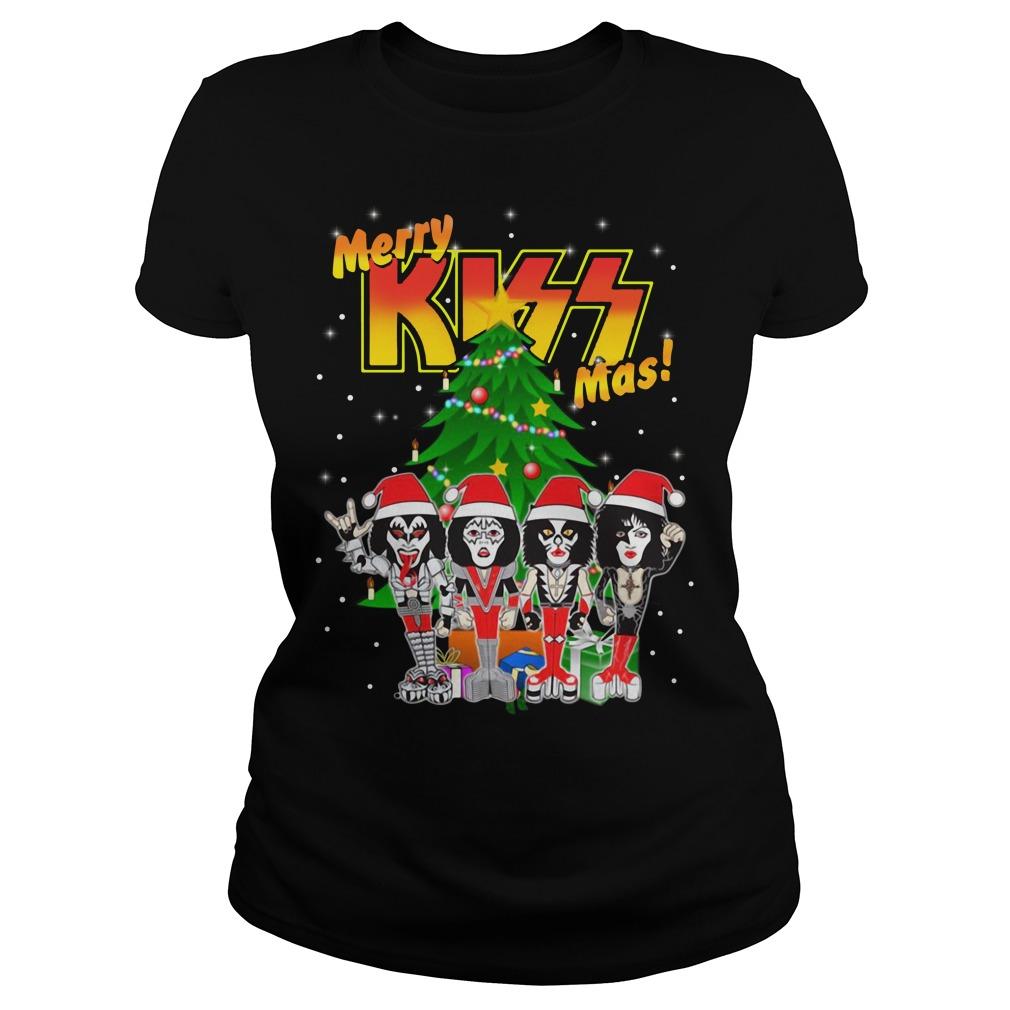 Rock and Roll over kiss merry Kissmas- Kiss Christmas Ladies Tee