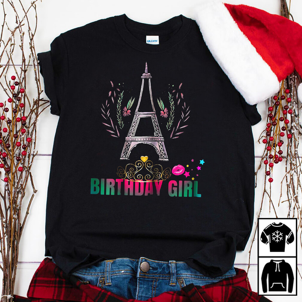 Eiffel tower birthday girl party shirt