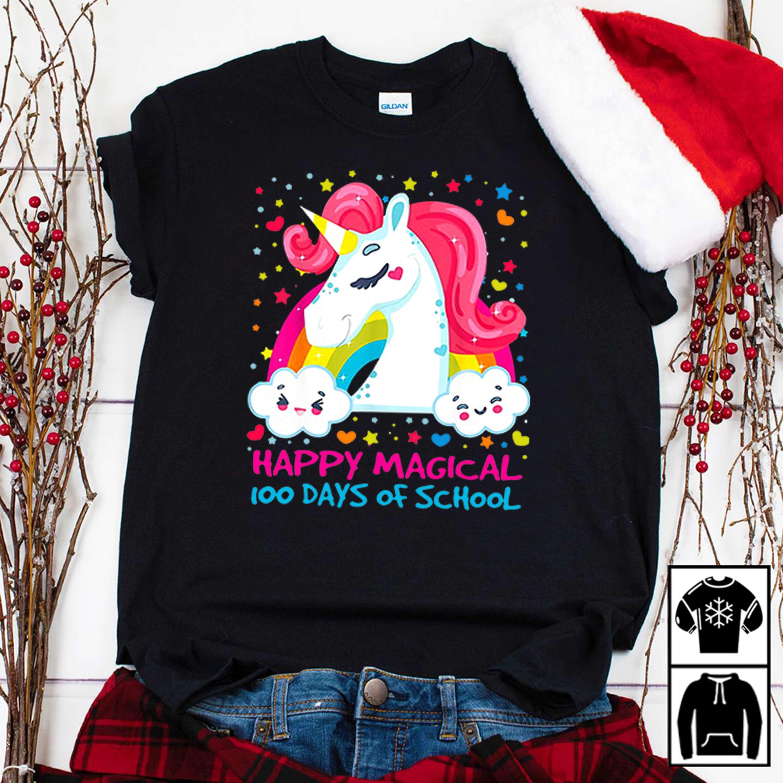 Cute magical Unicorn happy 100 days of school shirt