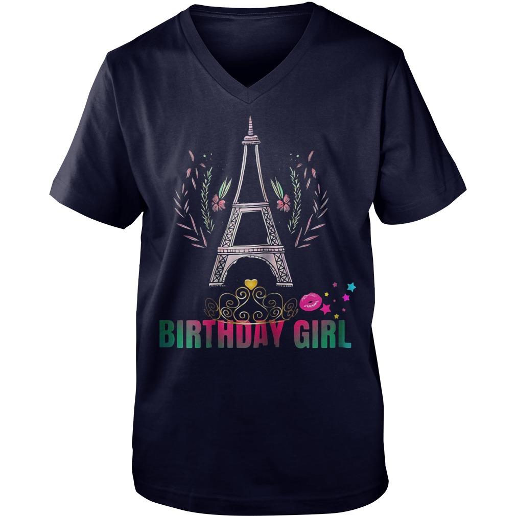 Eiffel tower birthday girl party Guy V-Neck