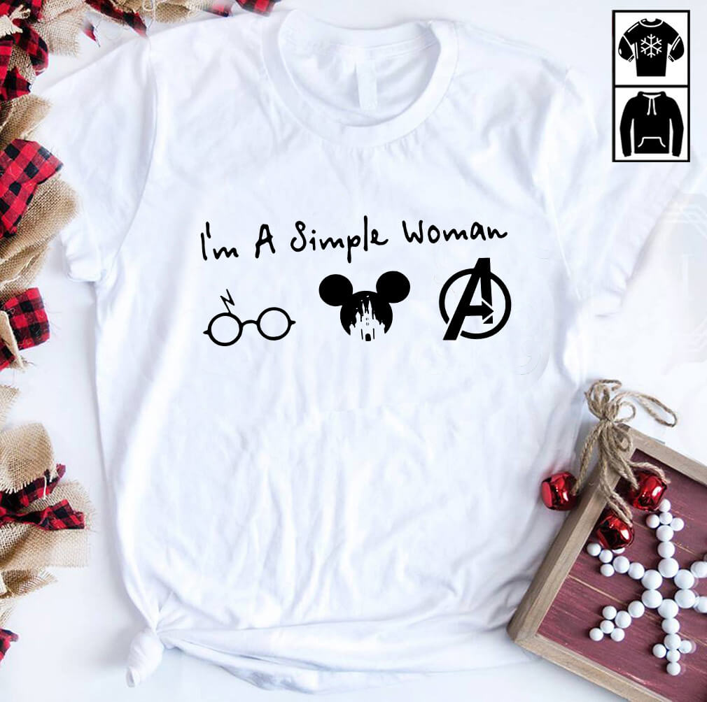 I'M A Simple Woman Like Harry Potter Mickey And Avengers Shirt