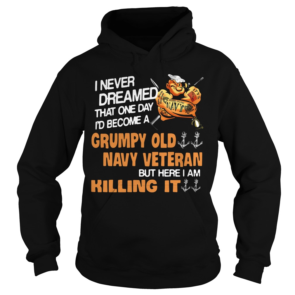 I never dreamed one day I become Grumpy old navy veteran but here I am killing it Hoodie