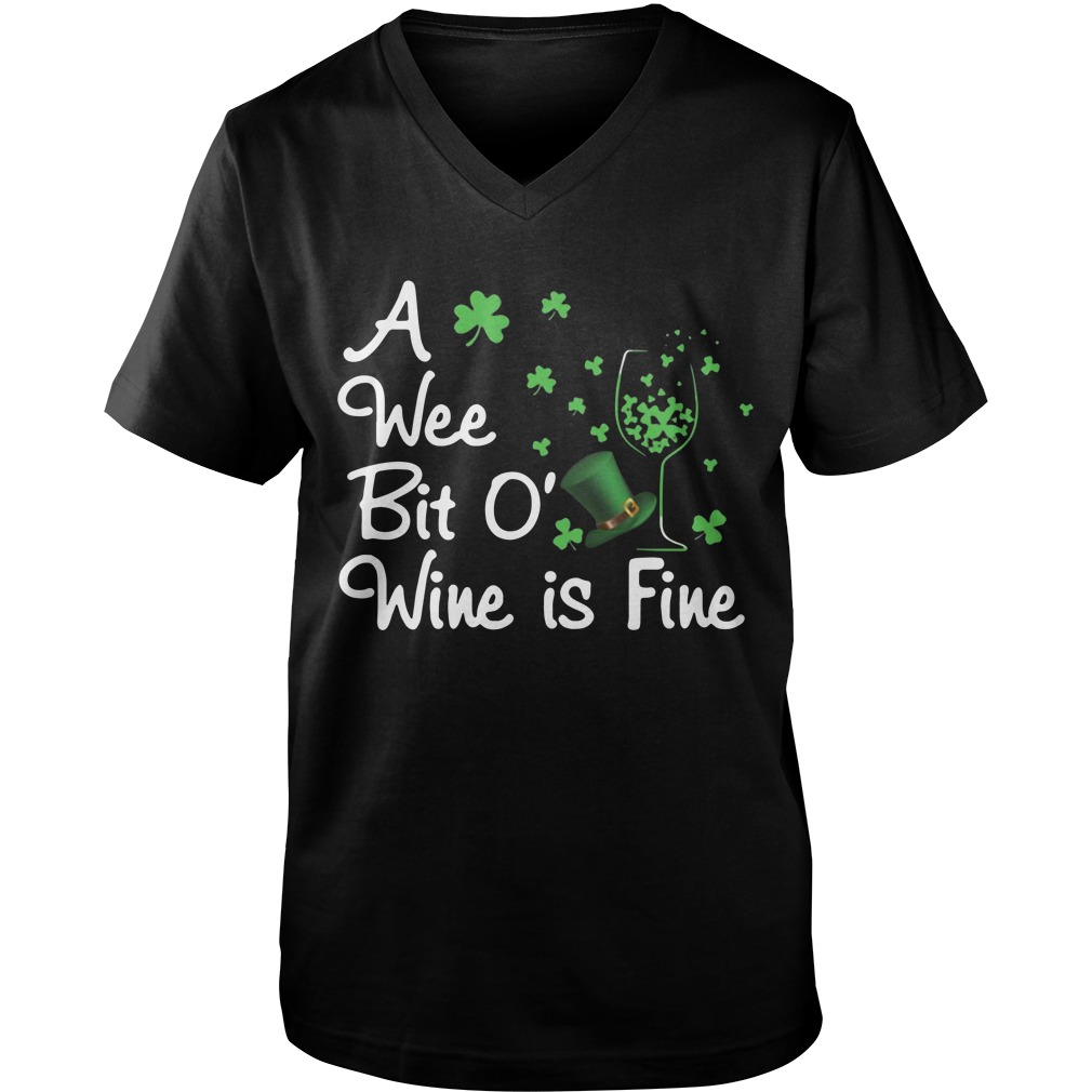 A Wee Bit O' Wine is fine St Patrick's day  Guy V-Neck