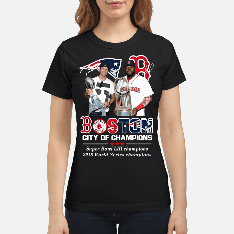 Boston City of Champions Patriots Red Sox Tom Brady David Ortiz Ladies Tee