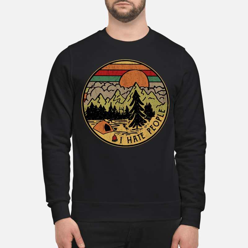 Camping Mountain Sunset Retro I Hate People Sweater