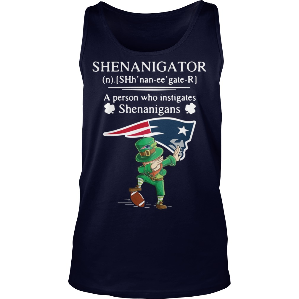 Leprechaun New England Patriots Dabbing Shenanigator Definition Meaning A Person Who Instigates Shenanigans Tank Top