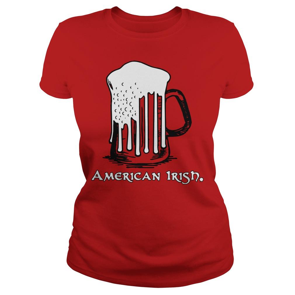 St Patrick's Day Beer Flag American Irish Ladies Tee