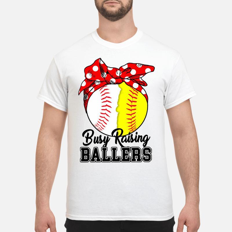 White And Yellow Softball Busy Raising Ballers Guy Tees