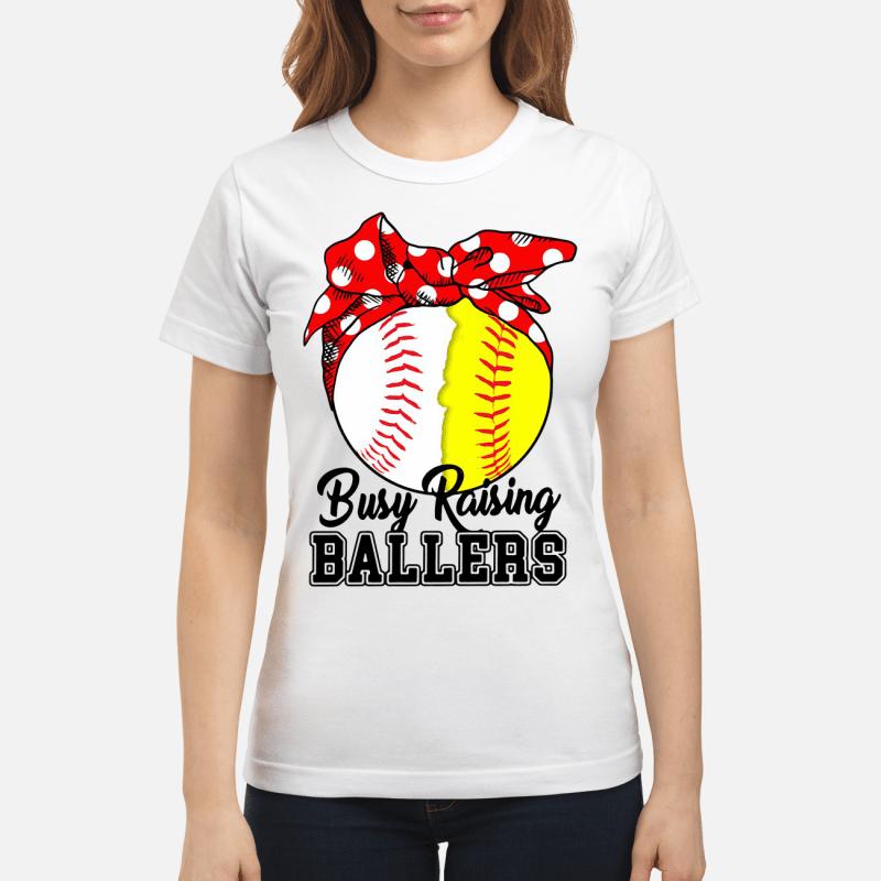 White And Yellow Softball Busy Raising Ballers Ladies Tee