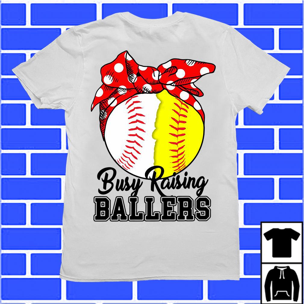 White And Yellow Softball Busy Raising Ballers Shirt