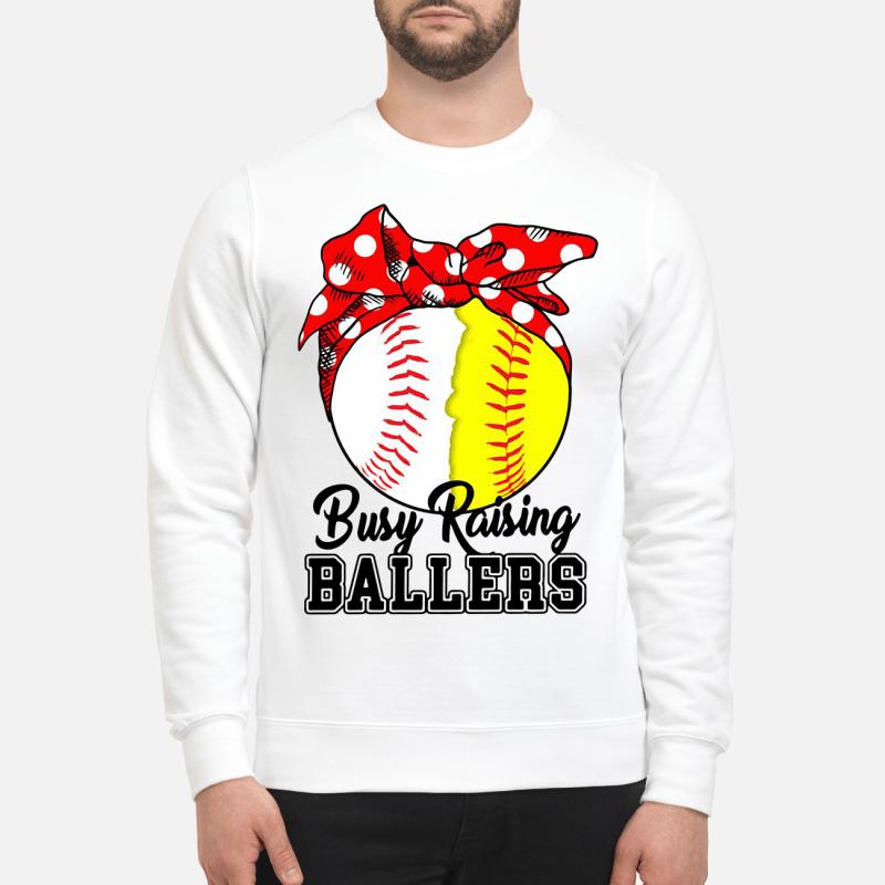 White And Yellow Softball Busy Raising Ballers Sweater