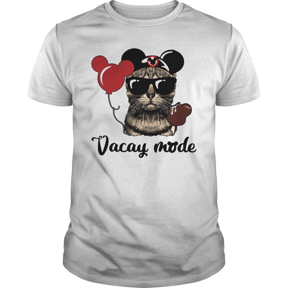 Cat Mickey Vacay Mode Guy Tees