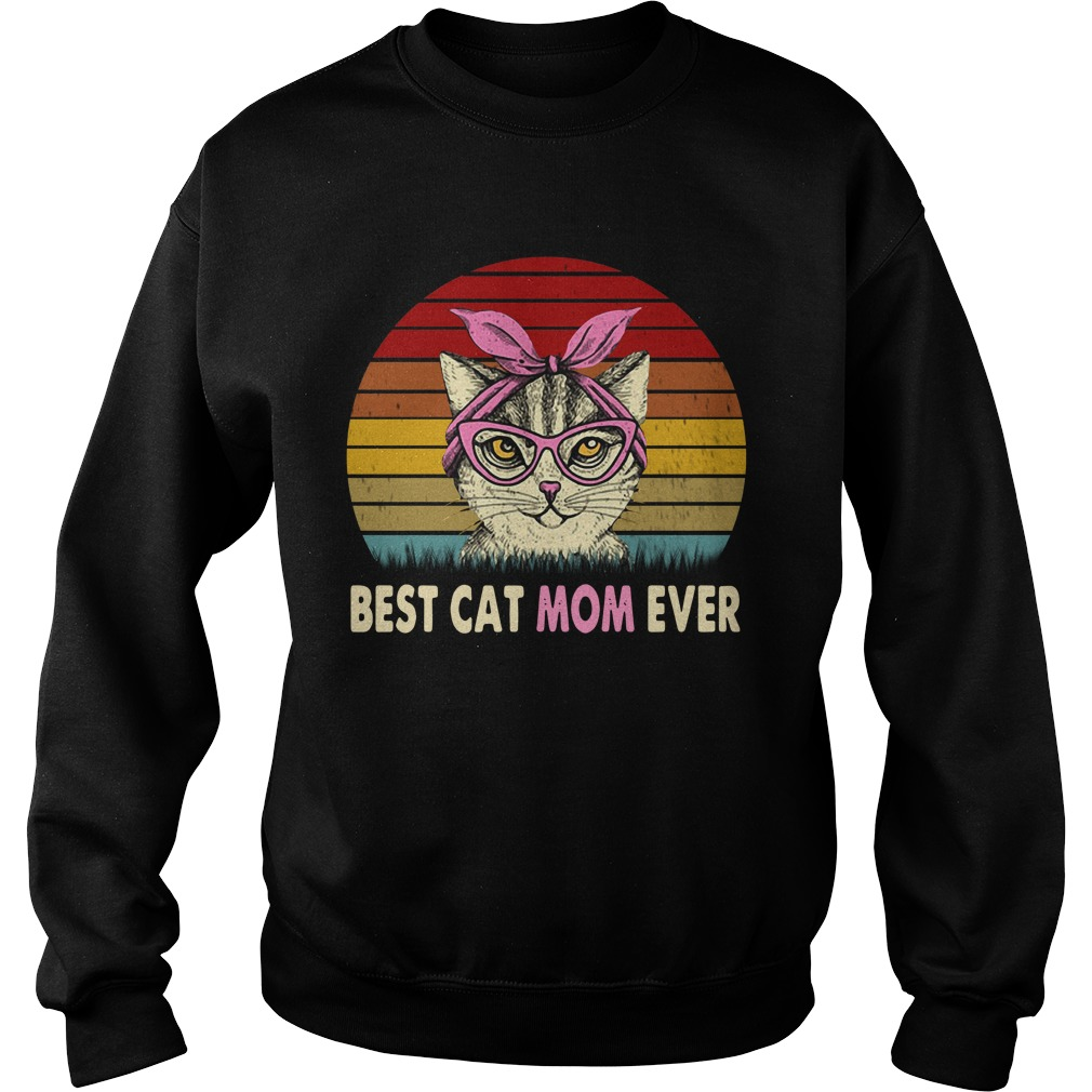 Cat With Pink Bandana Best Cat Mom Ever Sunset Retro Sweater