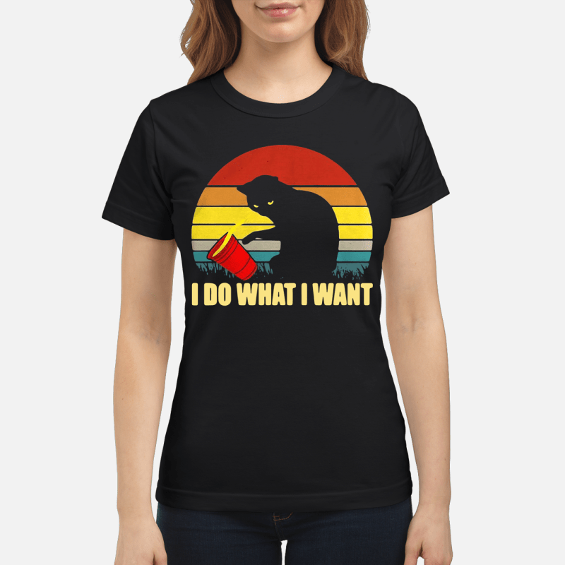 Cat I Do What I Want Sunset Retro Ladies Tee
