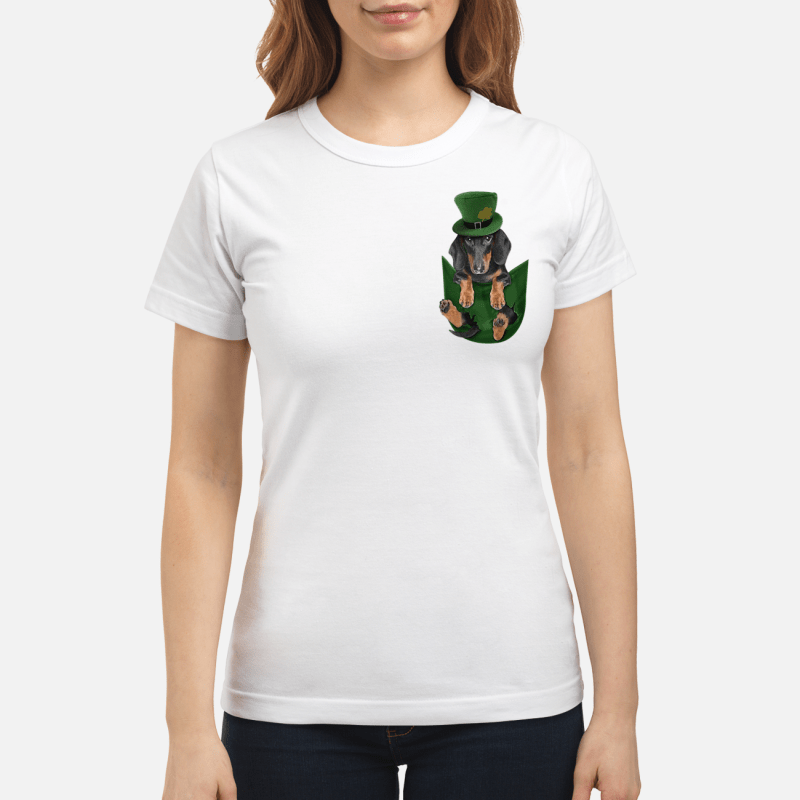 Dachshunds In Pocket St Patrick'S Day Ladies Tee
