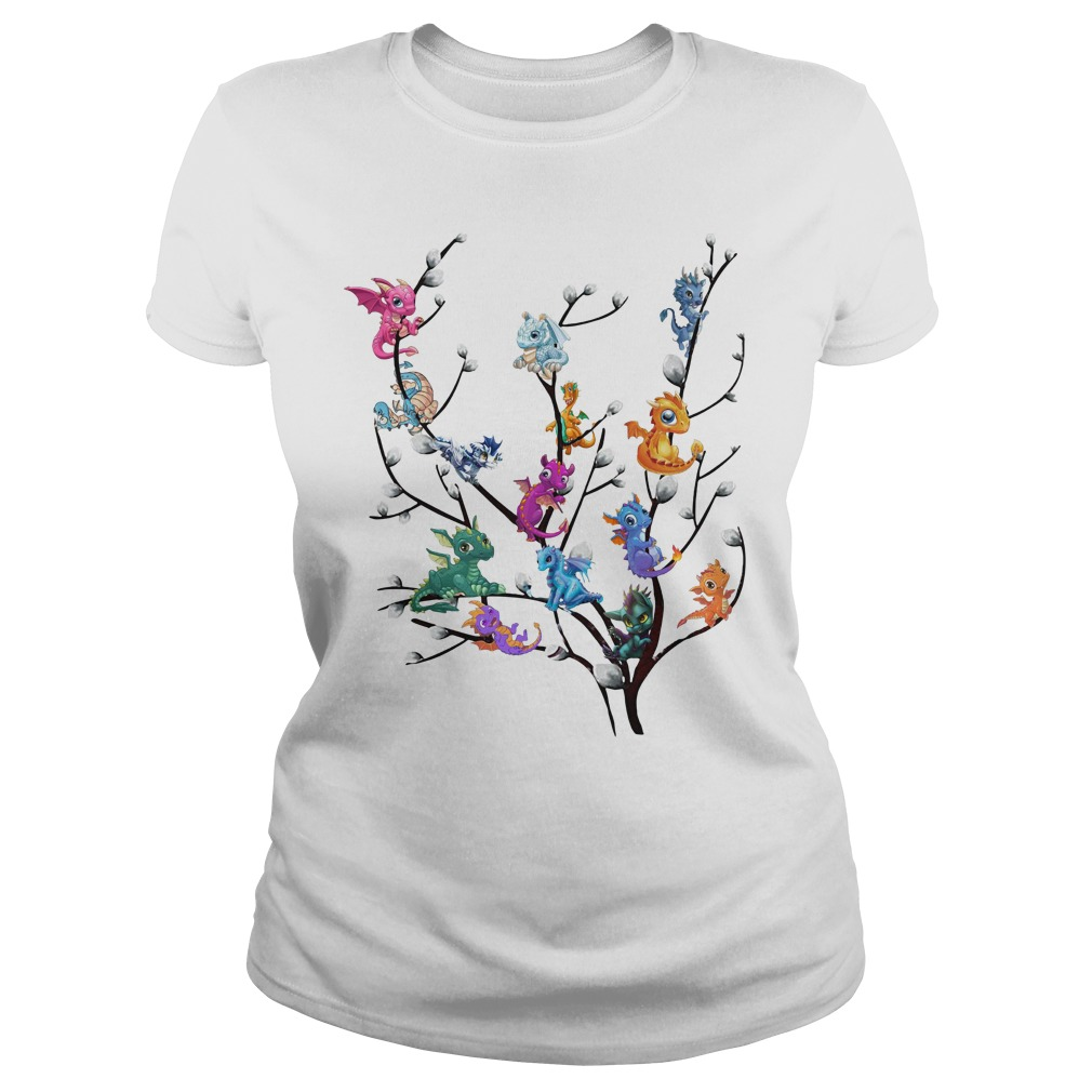 Dragons In Willow Tree Ladies Tee