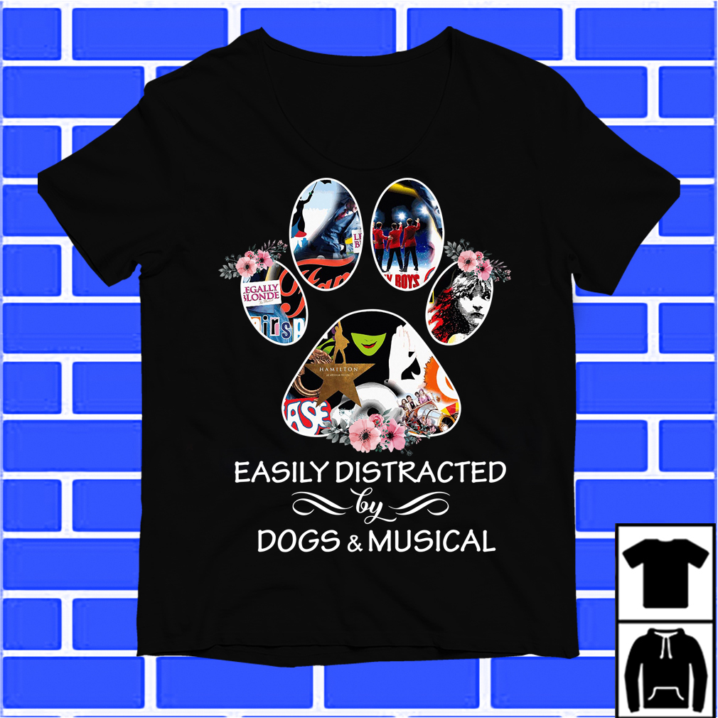 Paw Easily Distracted By Dogs And Musical Shirt