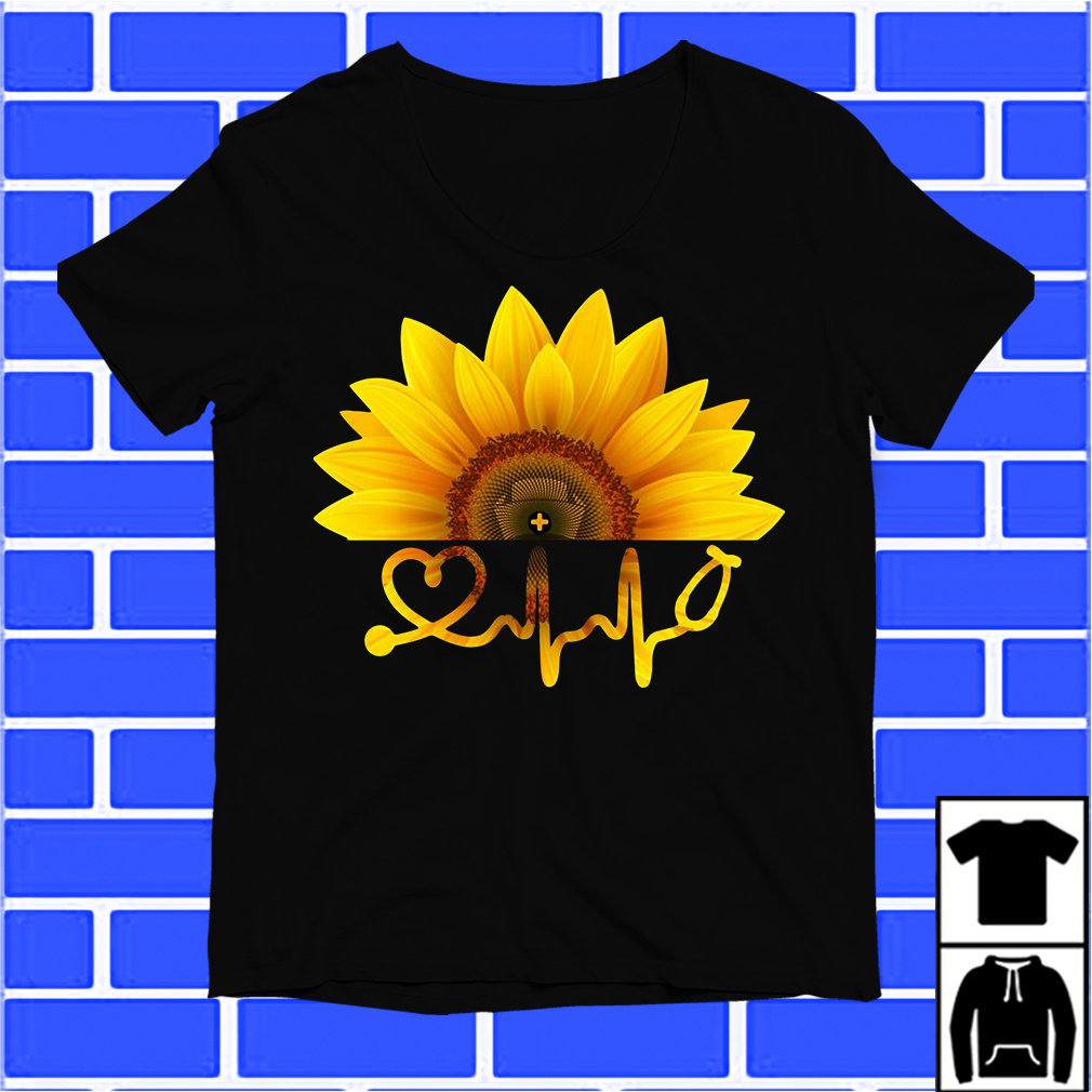 Sunflower Nurse Heartbeat Svg Shirt