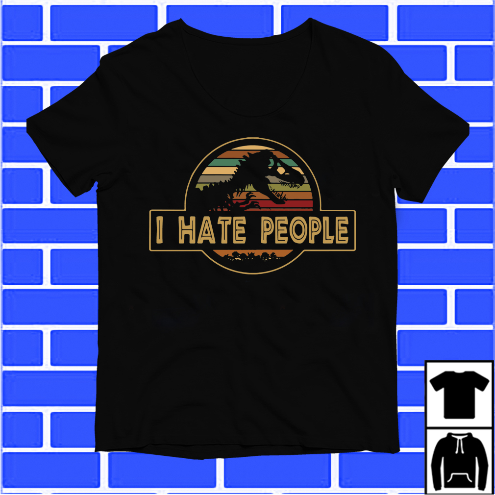 T-Rex I Hate People Sunset Retro Shirt