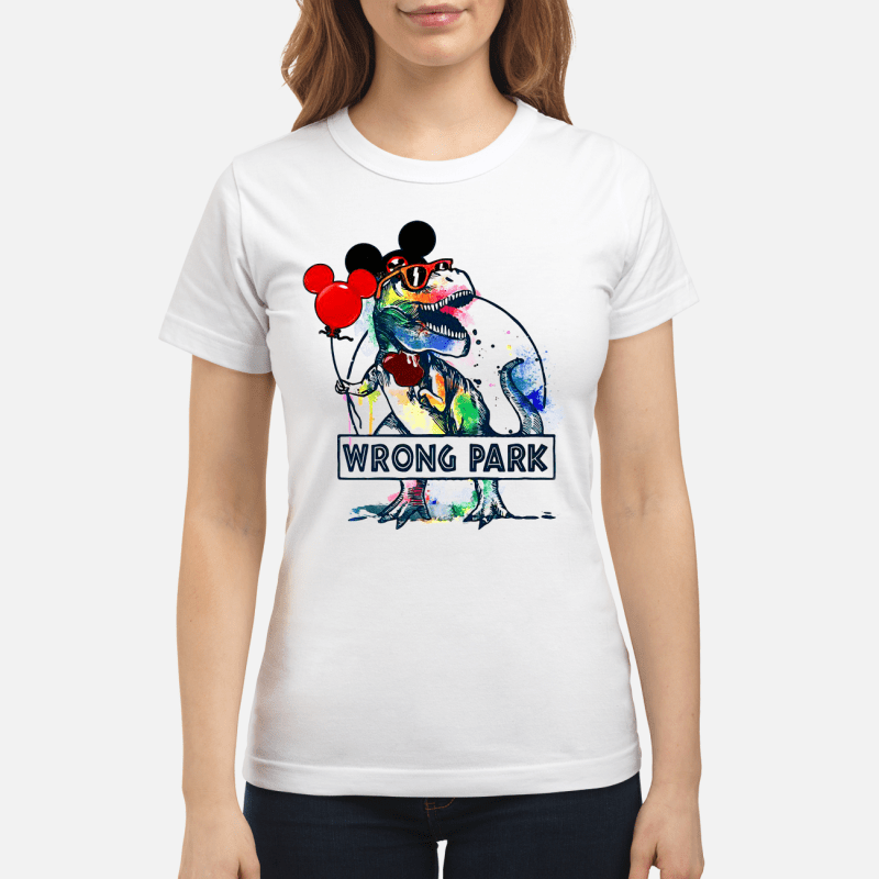T-Rex With Mickey Ear Wrong Park Ladies Tee