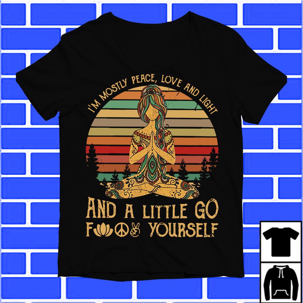 Yoga Girl I'M Mostly Peace Love And Light Sunset Retro Shirt