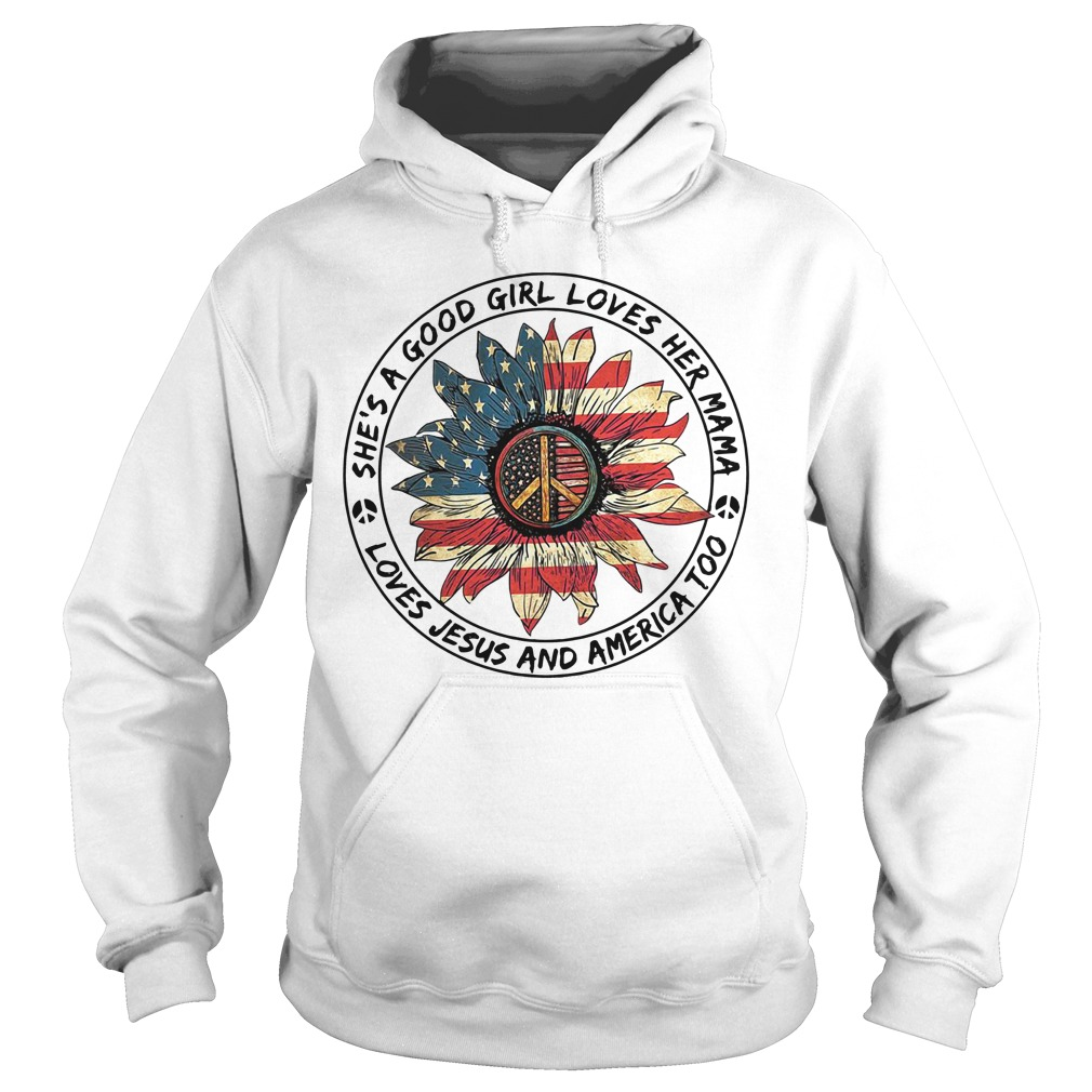 American Flag Flower She'S A Good Girl Loves Her Mama Loves Jesus And America Sweater