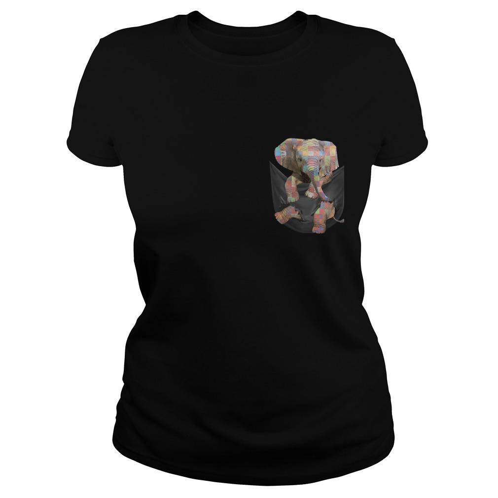 Autism Elephant In Pocket Ladies Tee