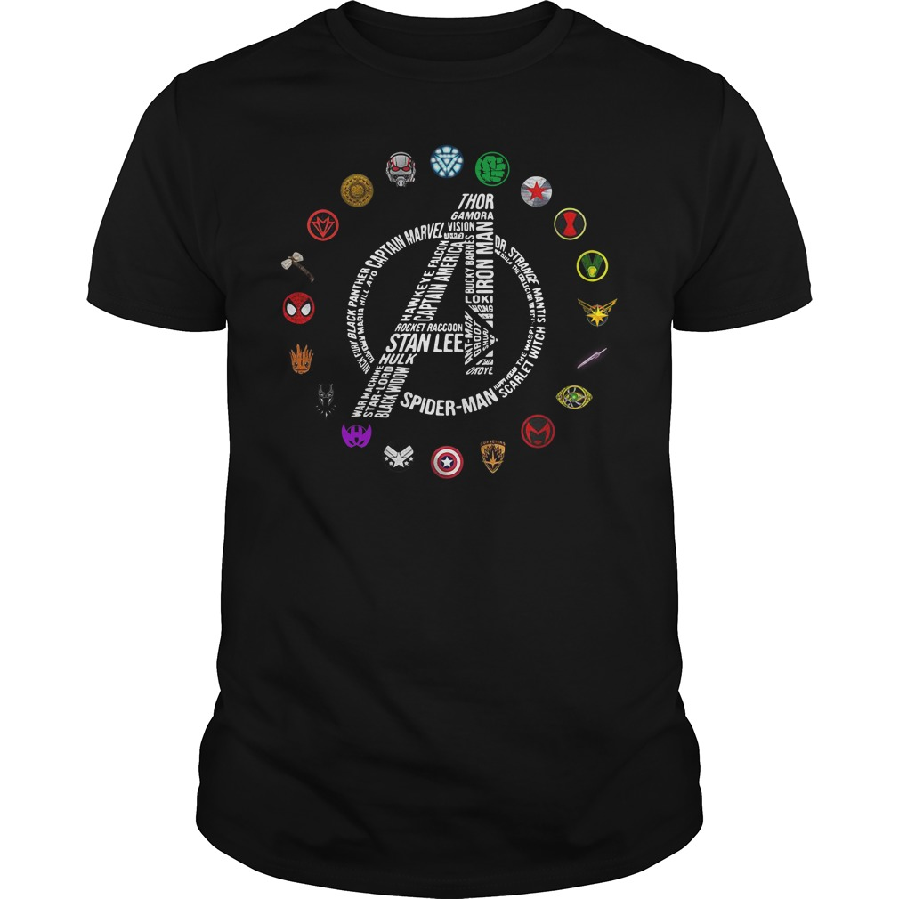 Avengers Logo All Characters Stan Lee Guy Tees