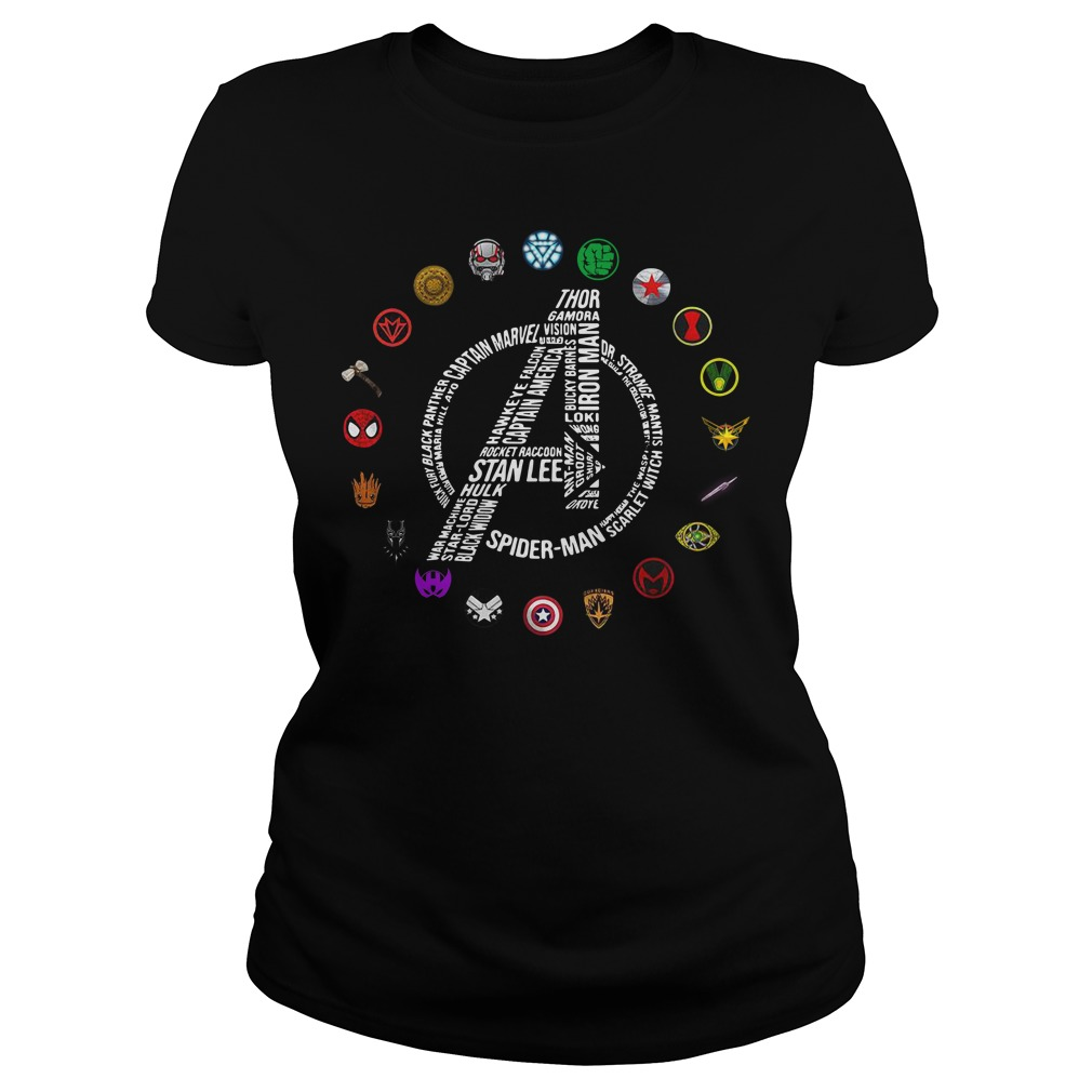 Avengers Logo All Characters Stan Lee Ladies Tee