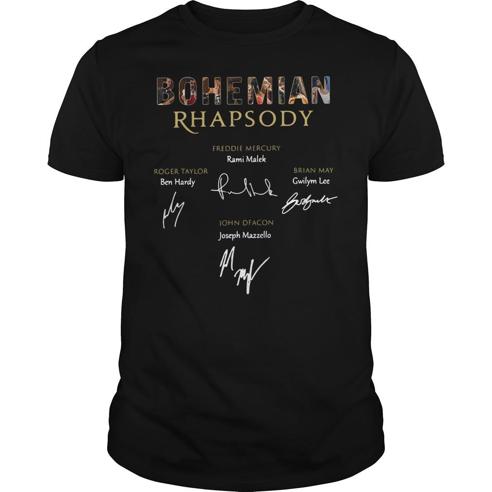 Bohemian Rhapsody Freddie Mercury Signatures Guy Tees