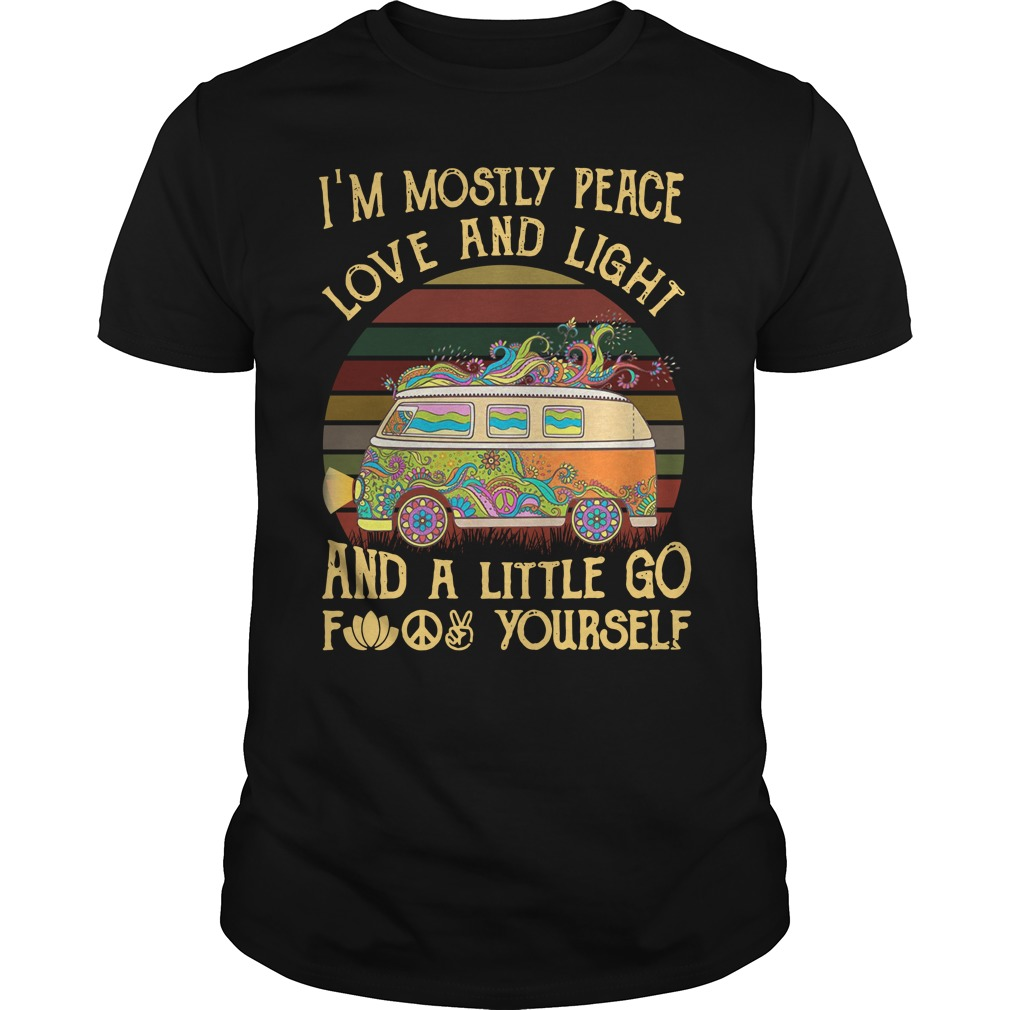 Car I'M Mostly Peace Love And Light Sunset Retro Guy Tees