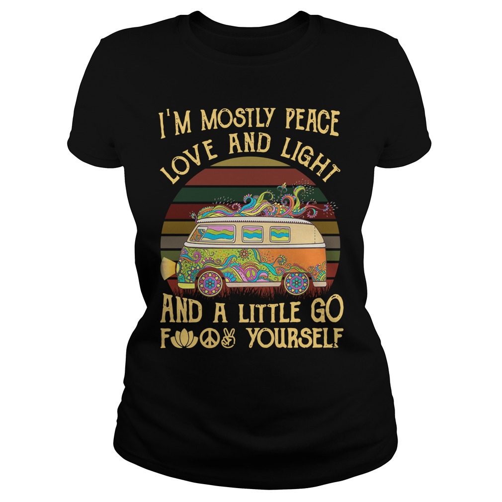Car I'M Mostly Peace Love And Light Sunset Retro Ladies Tee